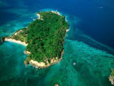 Ostrov při pobřeží Dominikánské republiky